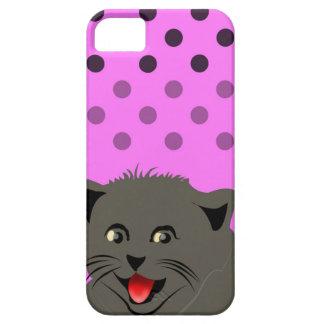 El girl_pink_desing dot_baby de Cat_polka iPhone 5 Funda