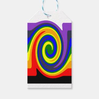 El giro agita el arco iris de colores, diseño de etiquetas para regalos