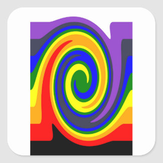El giro agita el arco iris de colores, diseño de pegatina cuadrada