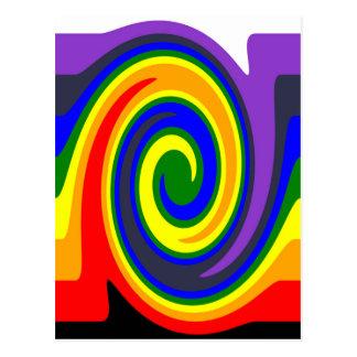 El giro agita el arco iris de colores, diseño de postal