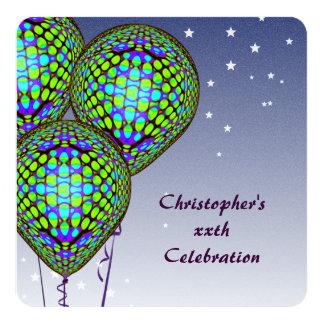 El globo azul invita invitación 13,3 cm x 13,3cm