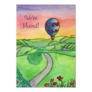 El globo del aire caliente movió nuevas invitación 12,7 x 17,8 cm