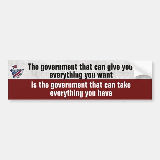 El gobierno da al gobierno se lleva político pegatina para coche