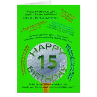 El golf bromea tarjeta de cumpleaños para 15 años