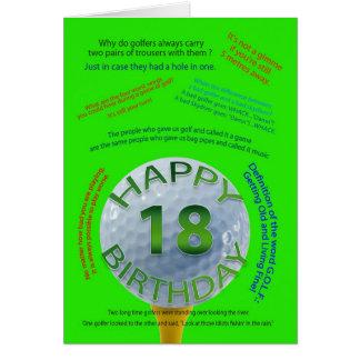 El golf bromea tarjeta de cumpleaños para 18 años