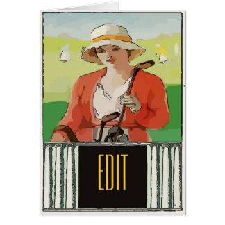 El golf, mujer, corrige el texto tarjeta