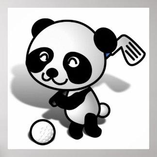 El Golfing lindo del oso de panda del bebé del dib Poster