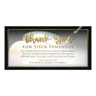 El golfista de oro le agradece por su tarjeta de tarjeta fotográfica