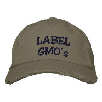El gorra apenado Embroadered de GMO de la etiqueta