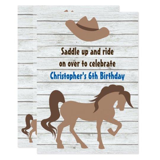 El gorra de vaquero, cumpleaños occidental del invitación 12,7 x 17,8 cm