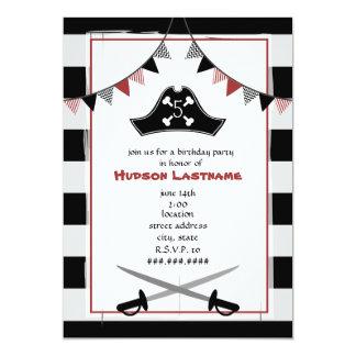 El gorra del pirata + La fiesta de cumpleaños de Invitación 12,7 X 17,8 Cm