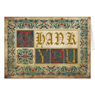 El gótico medieval del manuscrito le agradece tarjeta pequeña