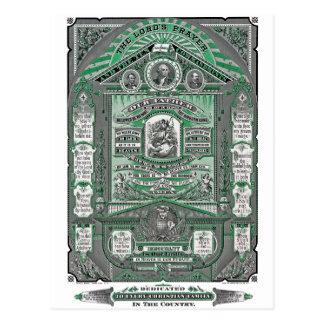 El grabado del vintage de Prayer del señor (verde) Postal