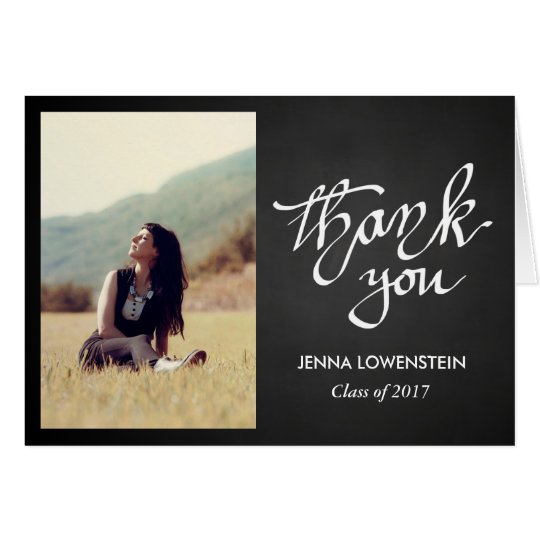 El graduado de la pizarra le agradece foto tarjeta de felicitación