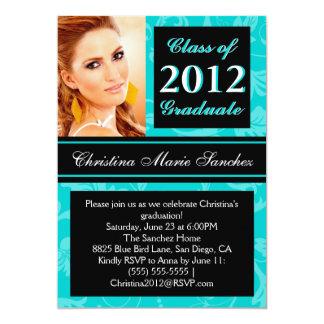 El graduado floral negro del remolino 2012 del invitación personalizada
