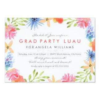 El graduado Luau del paraíso invita Invitación 12,7 X 17,8 Cm