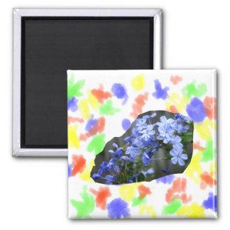 El grafito azul florece la foto de la cascada imán cuadrado