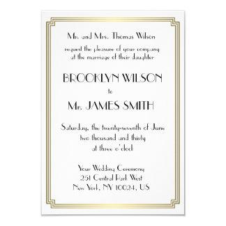 El gran boda minúsculo del oro del art déco de invitación 8,9 x 12,7 cm