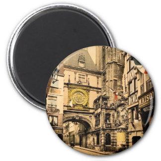 El gran reloj, vintage Photochrom de Ruán, Francia Imán Redondo 5 Cm