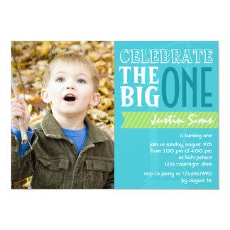 El grande - invitación azul del cumpleaños invitación 12,7 x 17,8 cm