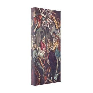 El Greco - adoración de los pastores Impresión En Lona Estirada