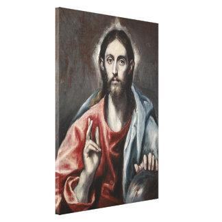 El Greco - bendición de Cristo Lienzo Envuelto Para Galerias