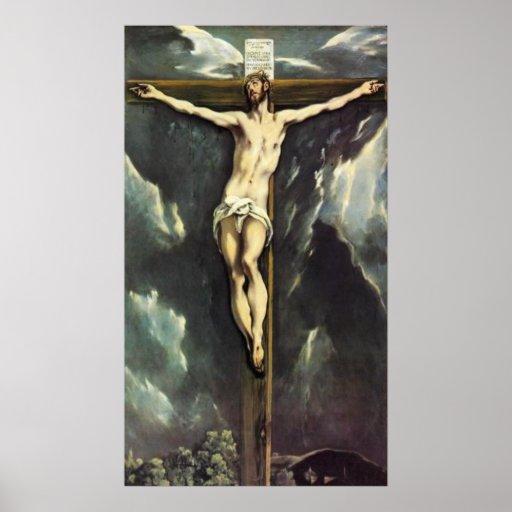 El Greco Cristo en el poster cruzado