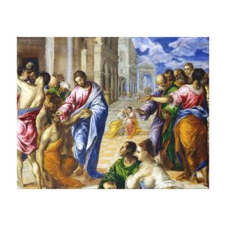 El Greco Cristo que cura a las persianas Impresión En Lienzo