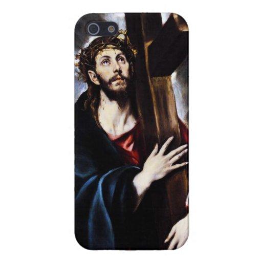 El Greco Cristo que lleva la caja cruzada del iPho iPhone 5 Fundas