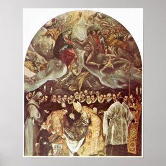 El Greco - entierro de la cuenta Orgaz Póster
