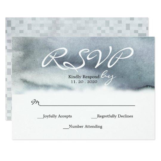 El gris azul atractivo se ruboriza acuarela que invitación 8,9 x 12,7 cm