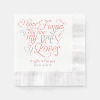 El gris coralino mi alma ama el boda del corazón servilleta de papel