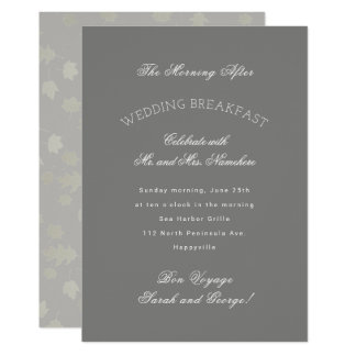 El gris deja la invitación del desayuno del boda