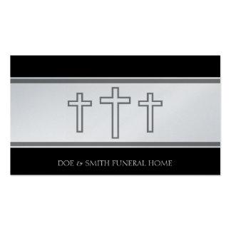 El gris del director de funeraria cruza platino de plantilla de tarjeta de visita