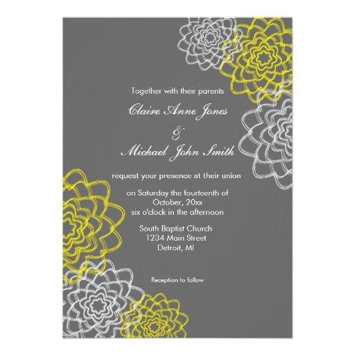 El gris/el casarse bosquejado amarillo de las flor