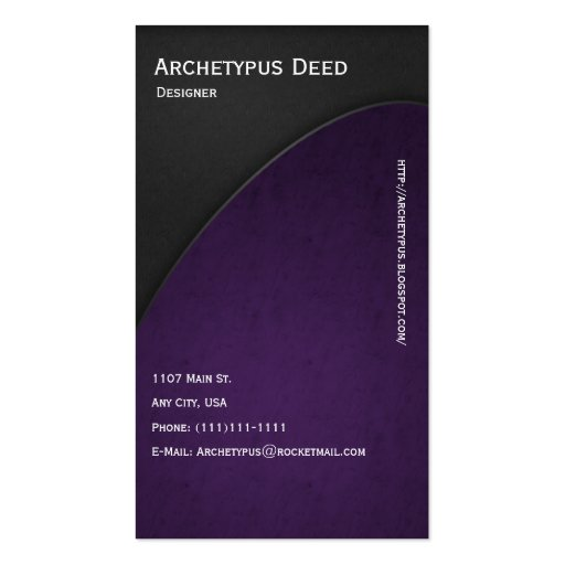 El gris en violeta curva el estilo 2 de la tarjeta tarjeta de visita
