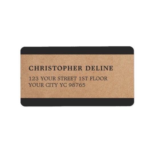 El gris moderno raya la etiqueta del papel de etiqueta de dirección