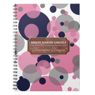 El gris rosado azul burbujea cuaderno moderno