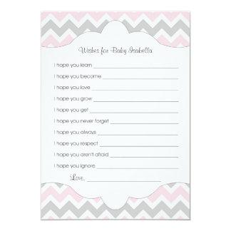 El gris rosado desea para el bebé/la gran idea de invitación 12,7 x 17,8 cm