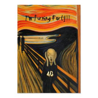 El grito - 40.o cumpleaños divertido invitación 12,7 x 17,8 cm