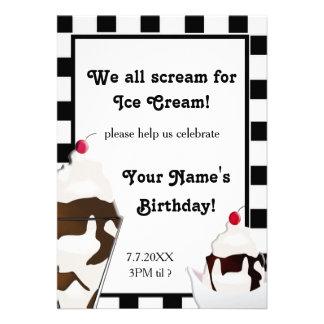 El grito para la fiesta de cumpleaños del helado i