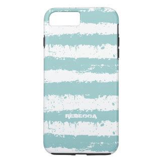 El Grunge azul claro y blanco raya el modelo Funda iPhone 7 Plus