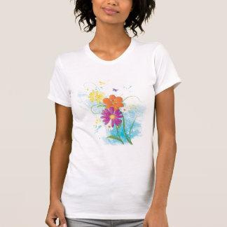 El Grunge florece la mariposa amarillo-naranja Camiseta