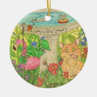 """El """"guardia de vida"""" en el baño del pájaro ornamento de navidad"""