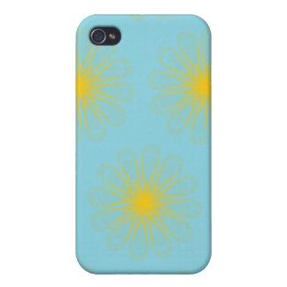 El guilloquis florece amarillo azul claro iPhone 4 funda