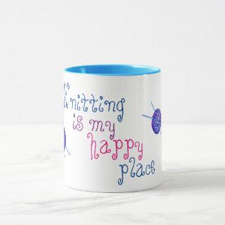El hacer punto es mi lugar feliz taza