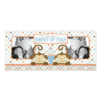 El helado gemelo de los monos y del helado le invitación 10,1 x 23,5 cm