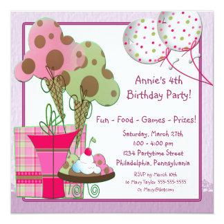 El helado hincha a la 4ta fiesta de cumpleaños de invitación 13,3 cm x 13,3cm