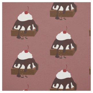 El helado sonriente remató el brownie tela