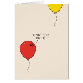 El helio hincha la tarjeta de felicitación